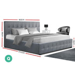 Artiss Roca Queen Size Gas Lift Bed Frame With Storage Grey