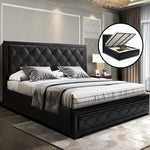 Artiss TIYO King Size Gas Lift Bed With Storage - Black Leather