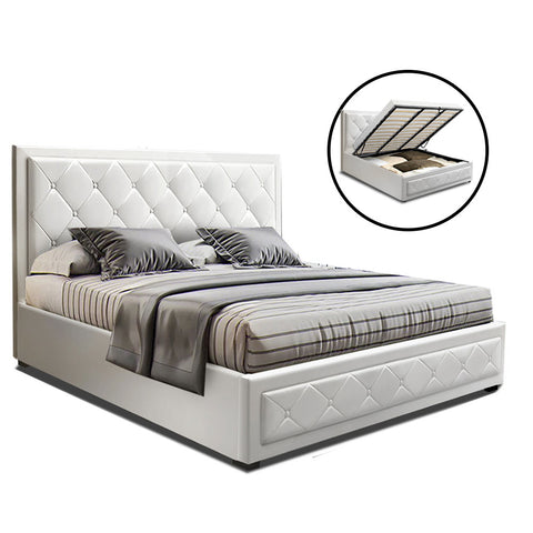 Artiss TIYO Queen Size Gas Lift Bed Frame Base With Storage Mattress White Leather