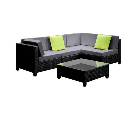 Outdoor Sofa 5 Piece Wicker - Black & Grey
