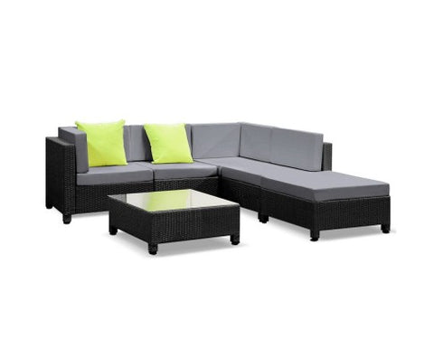Outdoor Sofa 6 Piece Wicker - Black & Grey