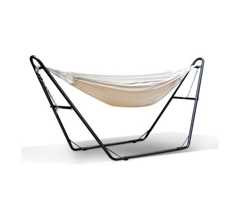 Free Standing Hammock Bed with Steel Frame - Cream
