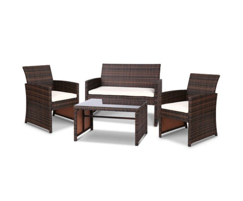 Outdoor Chair & Table Set of 4 Rattan - Brown