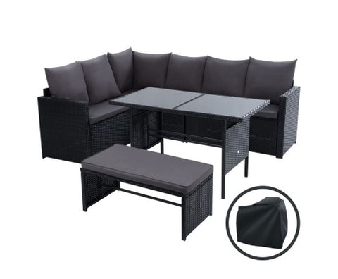 Outdoor Sofa 8 Seater Wicker Set - Black