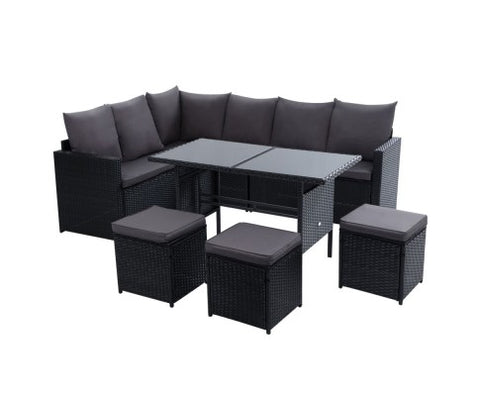 Outdoor Sofa 9 Seater Wicker Dining Set - Black