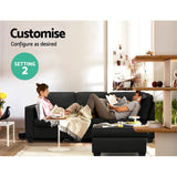 Artiss Sofa Lounge Set 4 Seater Modular - Dark Grey