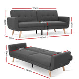 Artiss Sofa Bed Futon 3 Seater - Dark Grey