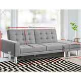 3 Seater Sofa Bed with Ottoman Grey - PLANO