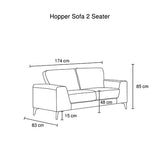 Hopper Sofa 2 Seater Grey
