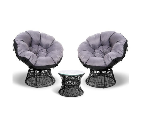 Papasan Chair & Table Set
