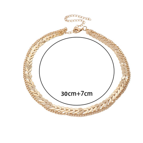 Gold Color metal Two Layer Choker Necklace