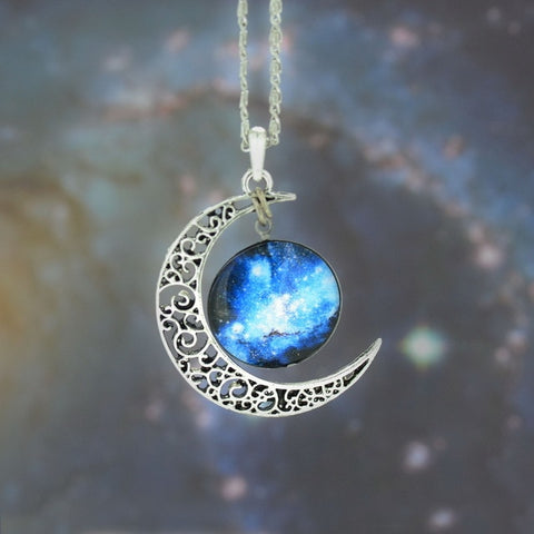 Universe Starry Sky moon Time Gem Pendant Necklace