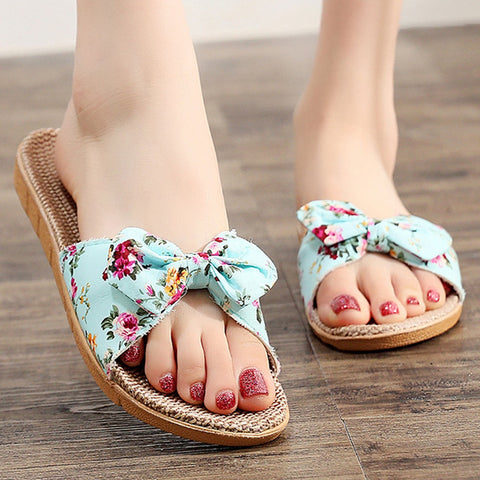 New Fashion Casual flower Female Flax Linen Flip Flops Slipper
