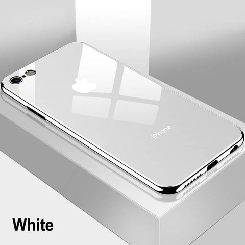 Luxury Tempered Glass Case For iPhone 7 6s 11 Pro Max X XR XS 8 Plus Xs Max Plating Mirror Cover Glossy