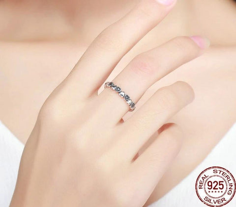 Genuine 925 Sterling Silver Stackable Heart Shape Ring