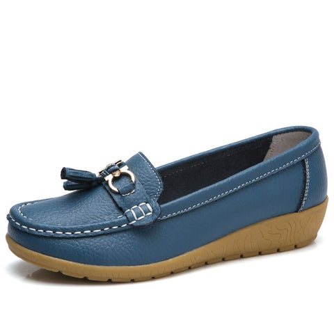 Genuine leather Fashion casual Superstar ladies loafers