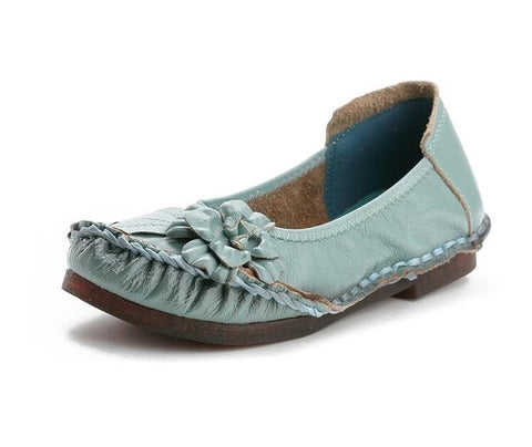 Genuine Leather Women Casual Flower Single Flat Round Toe Style Boat Shoes