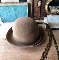 Tan Wool Bowler Hat with Feathers (c.1960s) - Rush Creek Vintage