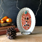 Eco Friendly Jack O Lantern Mosaic Dish - Rush Creek Vintage