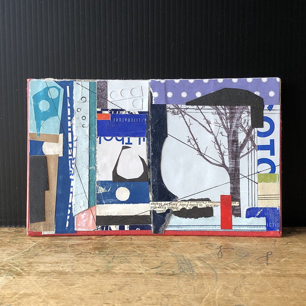 Handmade Book Art Collage, 'Winter Tree' - Rush Creek Vintage