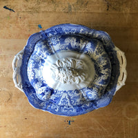 Antique Blue Transferware Covered Serving Dish (1800s) - Rush Creek Vintage