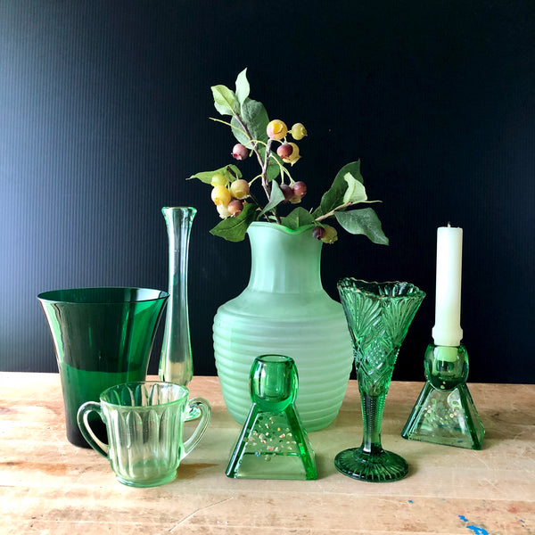 Green Depression Glass Collection with Uranium Glass (c.1930s) - Rush Creek Vintage