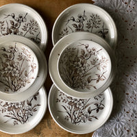 Vintage Brown and White English Floral Dishes (c.1960s) - Rush Creek Vintage