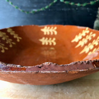 Antique Redware Loaf Dish with Yellow Slip Decoration (c.1800s) - Rush Creek Vintage