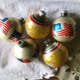 Shiny Brite Patriotic Glass Christmas Ornaments - Rush Creek Vintage