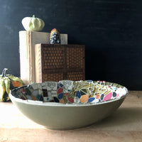 Mosaic Mid Century Green Bowl - Rush Creek Vintage
