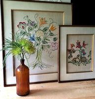 Mid Century Framed Floral Needlework Set (c.1960s) - Rush Creek Vintage