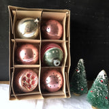 Vintage Pastel Pink Ornaments with Box (c.1950s) - Rush Creek Vintage