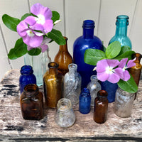 Antique Glass Apothecary Bottles, Set of 16 - Rush Creek Vintage