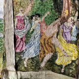 Vintage Needlework Tapestry of Dancing Greek Muses - Rush Creek Vintage