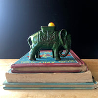 Vintage Green Cast Iron Elephant Coin Bank (c.1920s) - Rush Creek Vintage