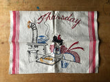 Embroidered Day of the Week Chores Kitchen Towels,  (c.1960s) - Rush Creek Vintage