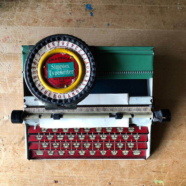 Simplex Toy Litho Tin Typewriter (c.1930s) - Rush Creek Vintage