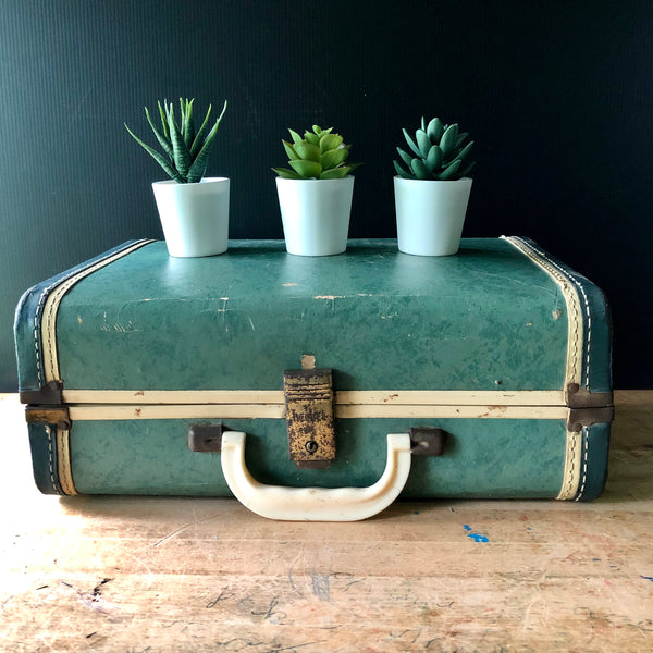Small Green Vintage Suitcase (c.1940s) - Rush Creek Vintage