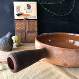 Vintage French Clay Baking Dish with Handle (c.1900s) - Rush Creek Vintage
