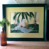 Mid Century Finger Painted Japanese Pond Scene by Gen Matucha - Rush Creek Vintage