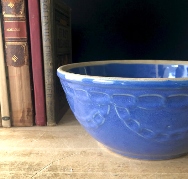 Vintage Farmhouse Blue Pottery Mixing Bowl - Rush Creek Vintage