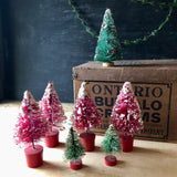Miniature Vintage Bottle Brush Trees, Set of Eight (c.1960s) - Rush Creek Vintage