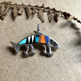 Rock Kritters Sterling Turquoise Fish Pendant (c.1980) - Rush Creek Vintage