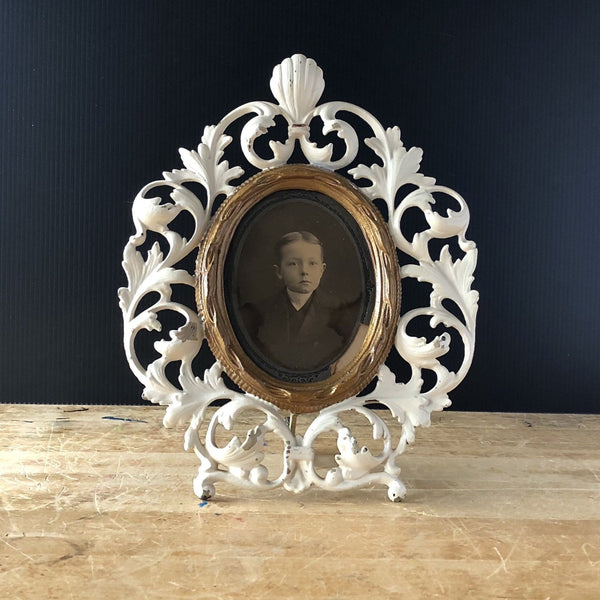 Victorian Painted Brass Picture Frame (c.1900s) - Rush Creek Vintage