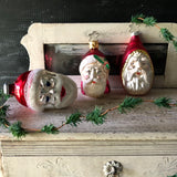 Vintage Santa Head Ornament Trio - Rush Creek Vintage
