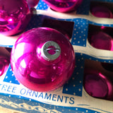 Vintage Paragon Hot Pink Glass Ornaments in Box (c.1950s) - Rush Creek Vintage