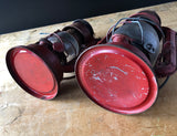 Set of Two Vintage Red Railroad Lanterns Deitz Comet and Sun (c.1940s) - Rush Creek Vintage