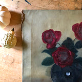 Primitive Floral Still Life Painting (1900s) - Rush Creek Vintage