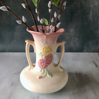 Vintage Hull Camellia Open Rose Pottery Vase (c.1940s) - Rush Creek Vintage