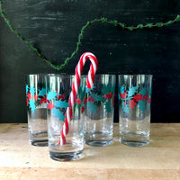 Vintage Christmas Holly Glasses - Rush Creek Vintage